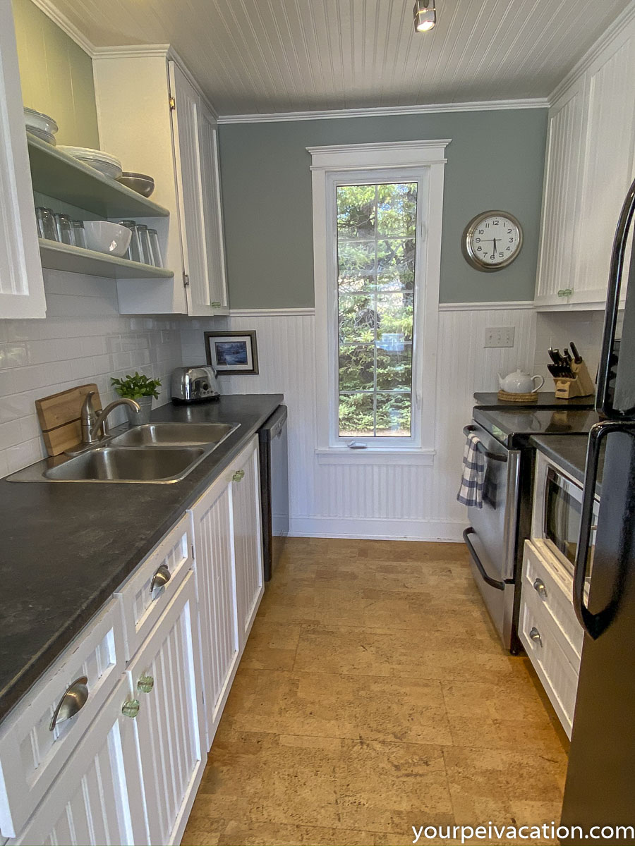 Full size fridge, stove, dishwasher, microwave, coffeemaker, kettle, lobster pot, etc. Plenty of cupboards and provides a full complement of dishes, pots, pans & anything else you might need to creat your favorite meals.